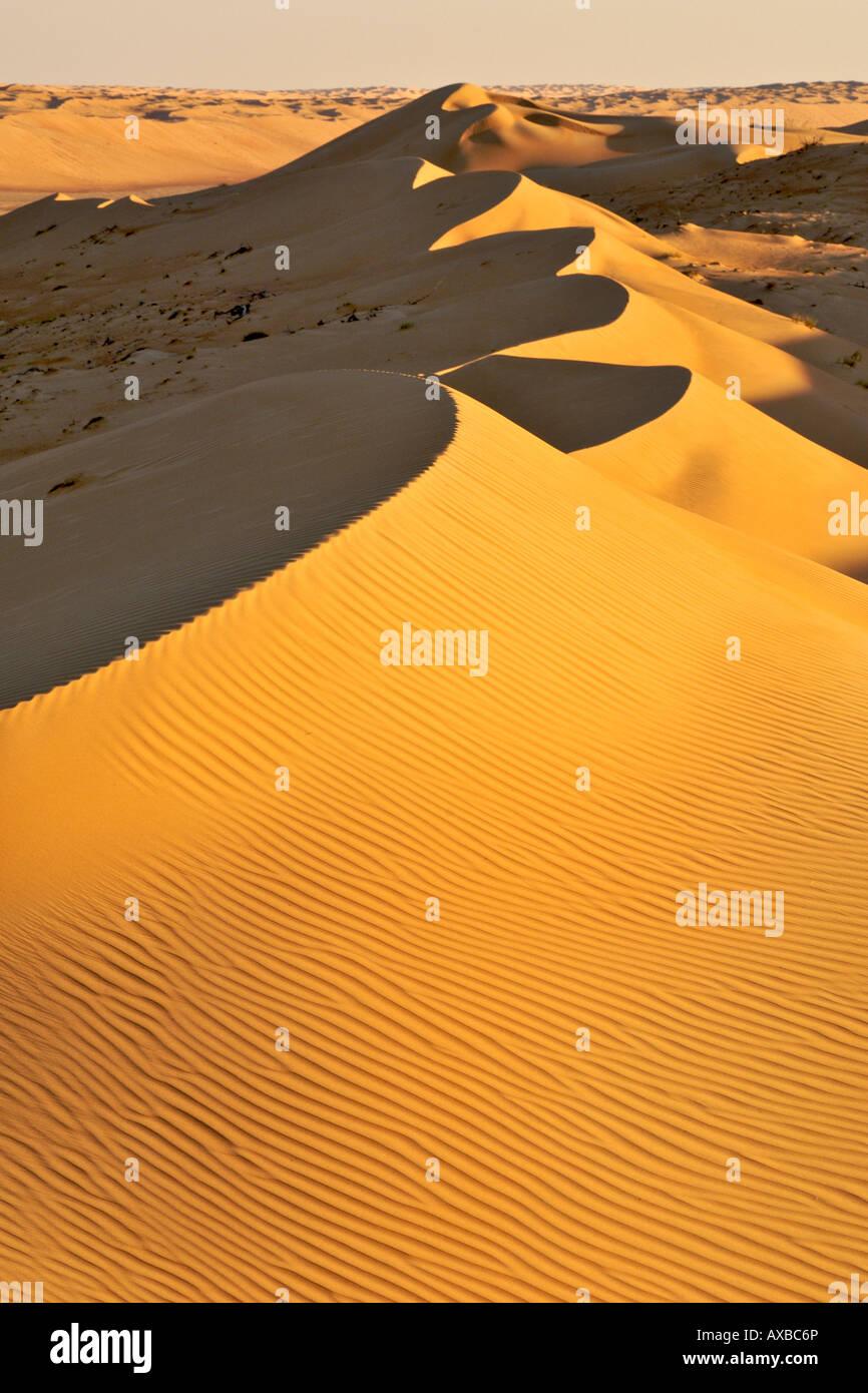 Vue sur Wahiba Sands (Ramlat al Wahaybah) en Oman. Photo Stock