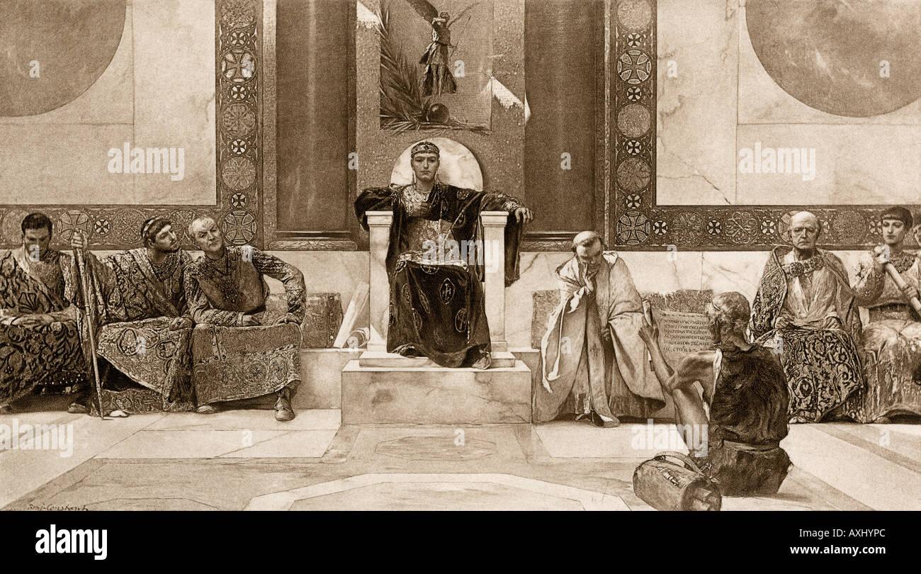 L'Est de l'empereur romain Justinien le grand et son conseil au 6ème siècle AD. Reproduction d'une illustration de la Photogravure Photo Stock