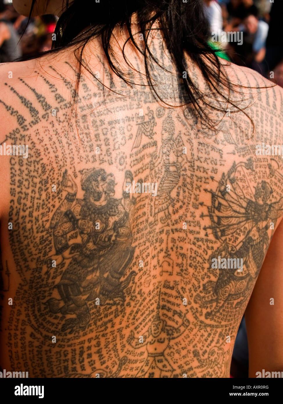 Body Art au Wat Bang Phra festival tattoo mystique en Thaïlande Photo Stock