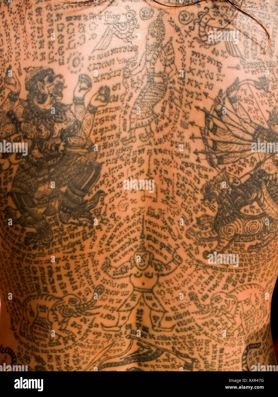 Body Art au Wat Bang Phra Tattoo Festival en Thaïlande Photo Stock