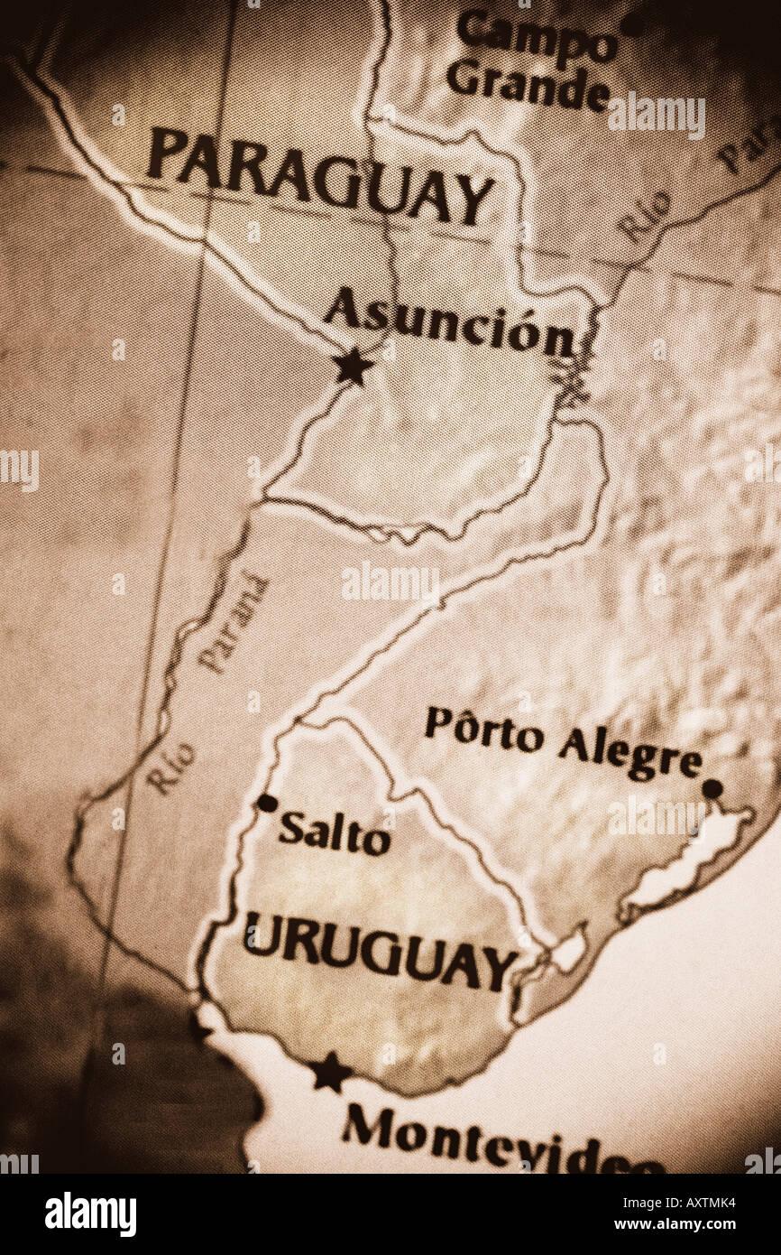 Carte Amerique Latine Uruguay.Close Up Carte Montrant Les Pays Le Paraguay Et L Uruguay En
