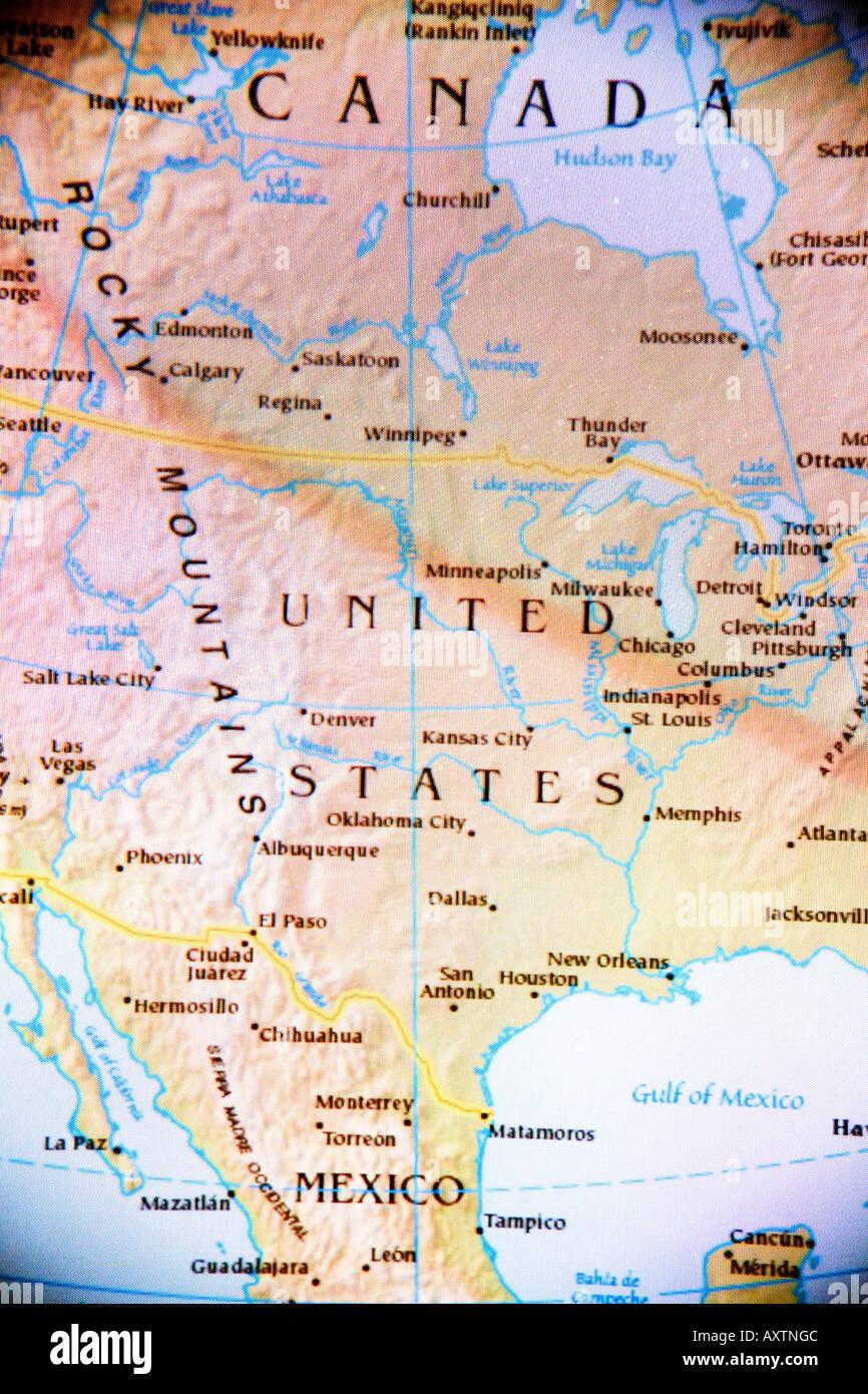 Carte Canada Uni.Carte De L Amerique Du Nord Etats Unis D Amerique Le Canada Et Le