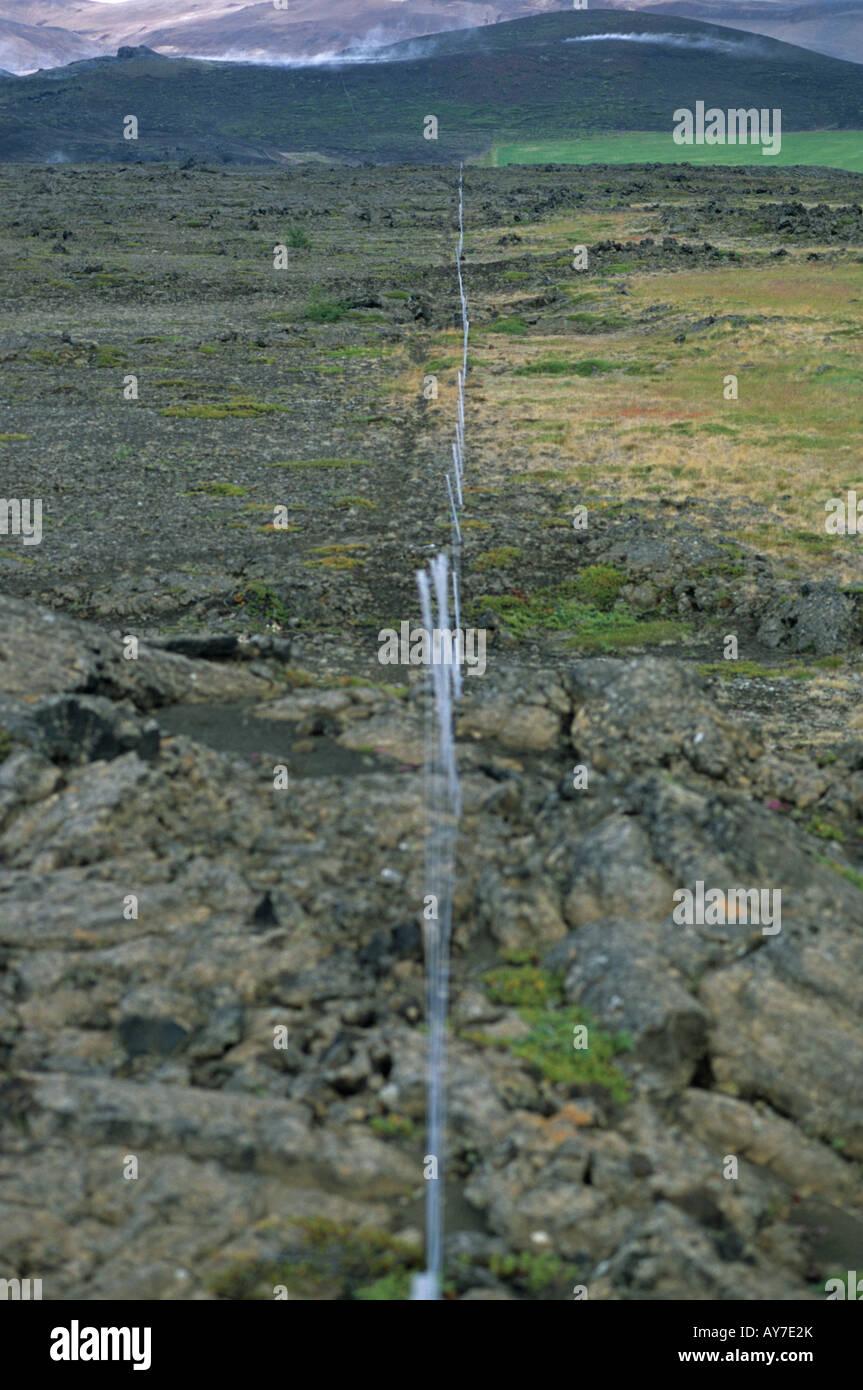 Clôture dans la zone de Reykjahlid Islande Photo Stock