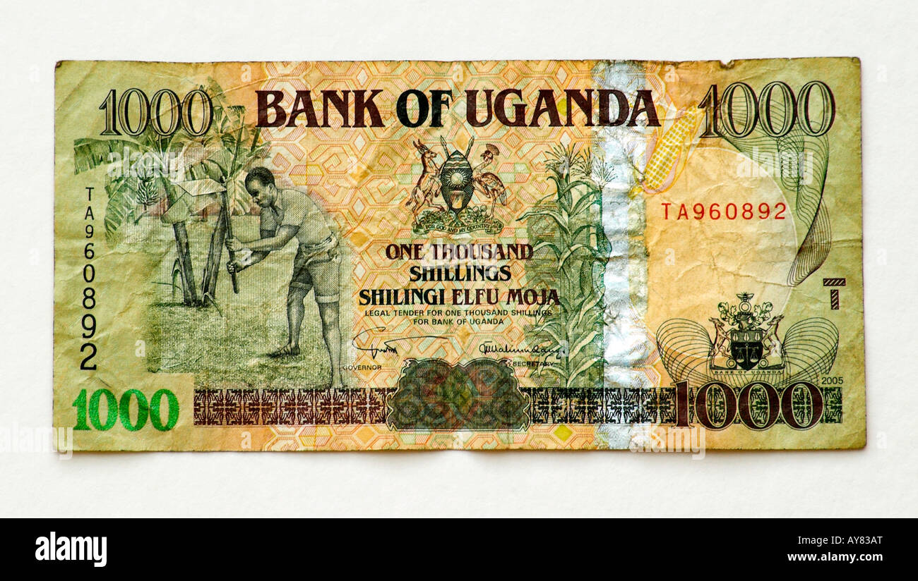 L'Ouganda 1000 Shilling bank note Photo Stock