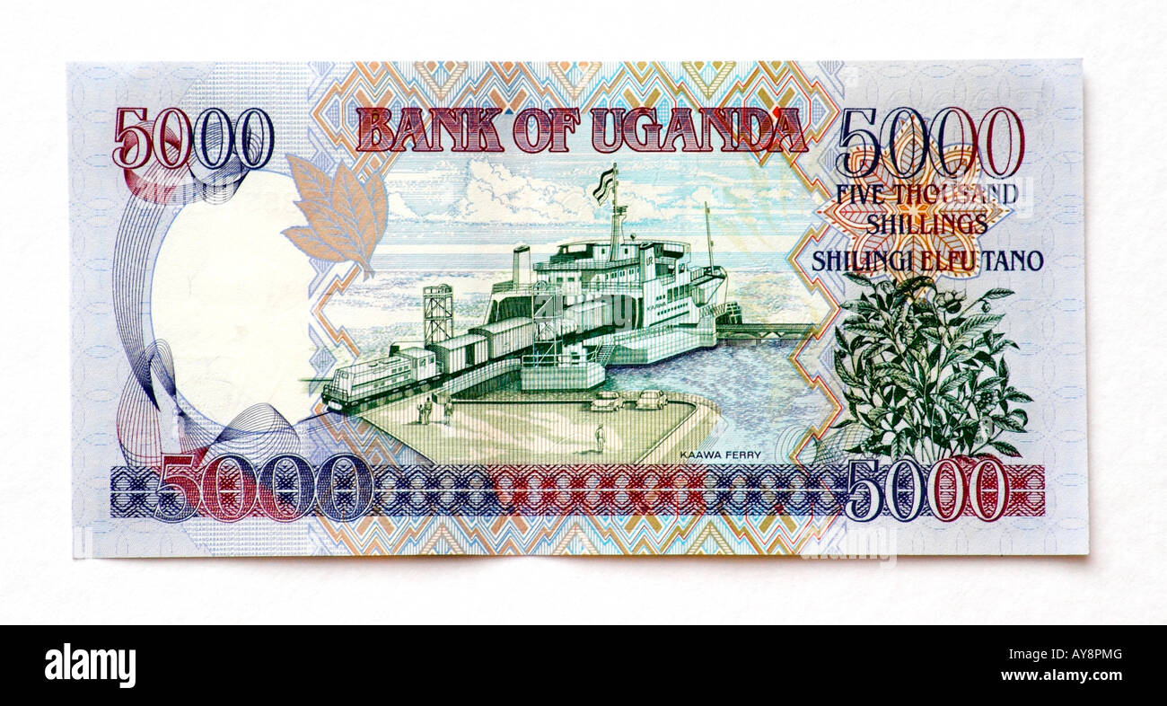 L'Ouganda 5000 Shilling bank note Photo Stock