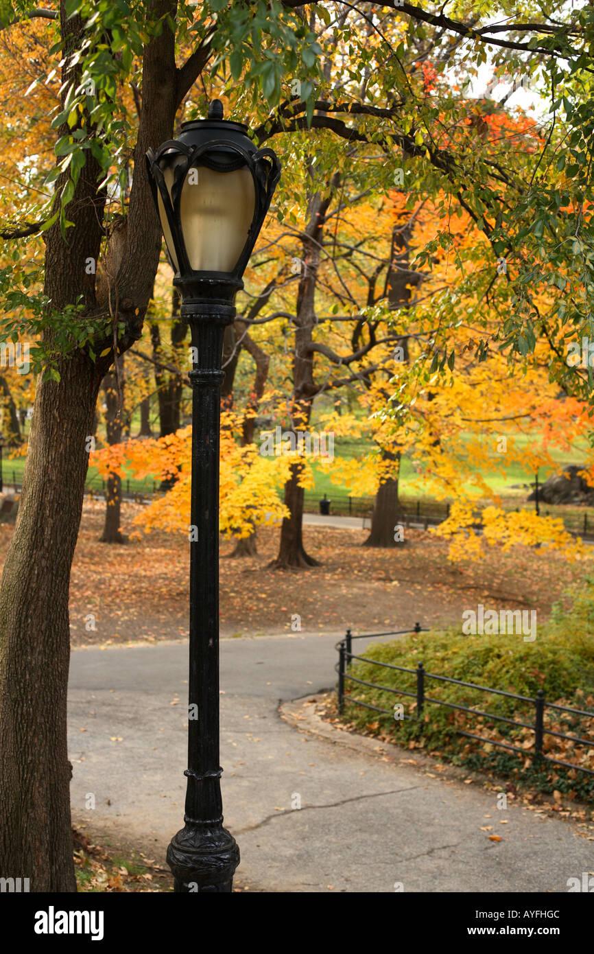 Chemin et la lumière pôle avec la couleur de l'automne, Central Park, New York City Photo Stock