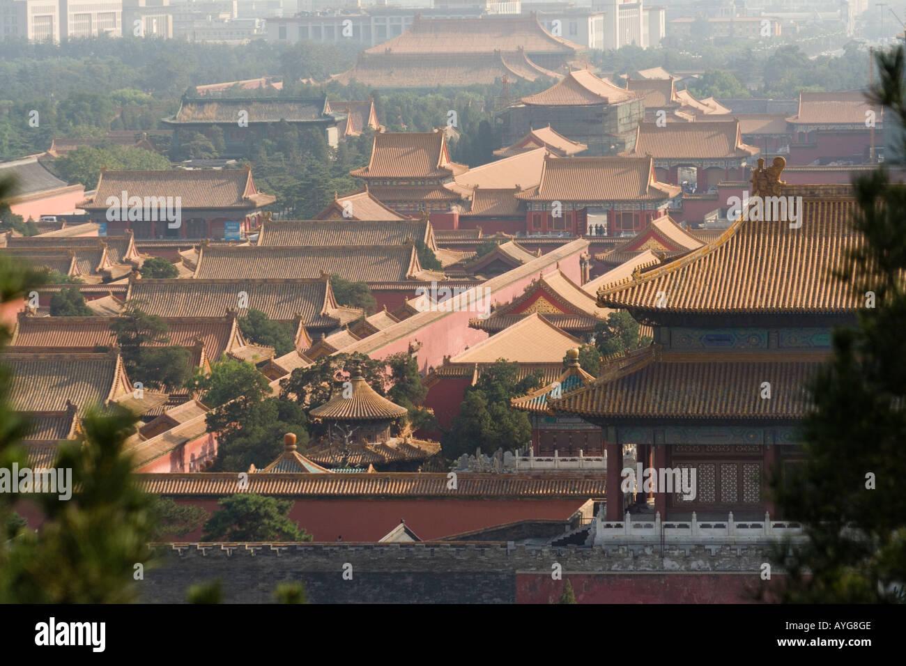 Vue aérienne de la Cité Interdite vue depuis une colline dans le parc Jingshan Beijing Chine Banque D'Images