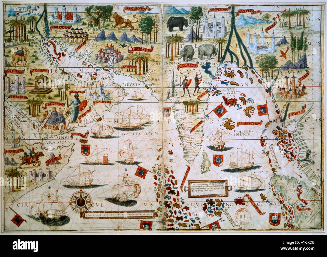 Ancienne carte montrant les routes commerciales Photo Stock