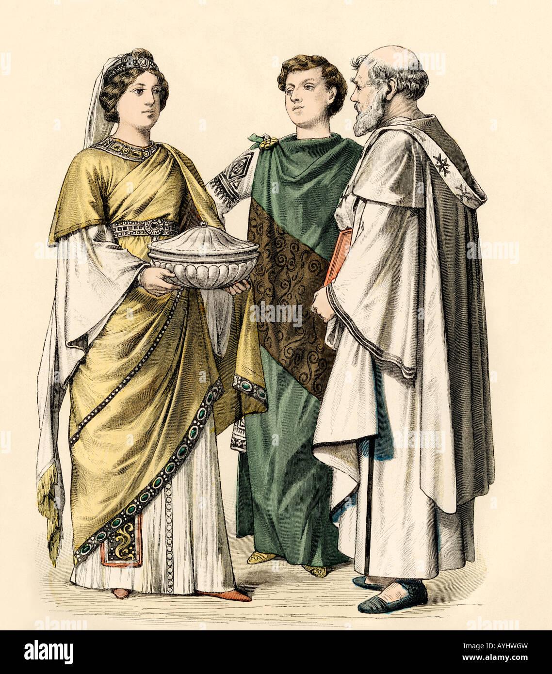 Les fonctionnaires de l'Empire byzantin au Vie siècle apr. Impression couleur à la main Photo Stock