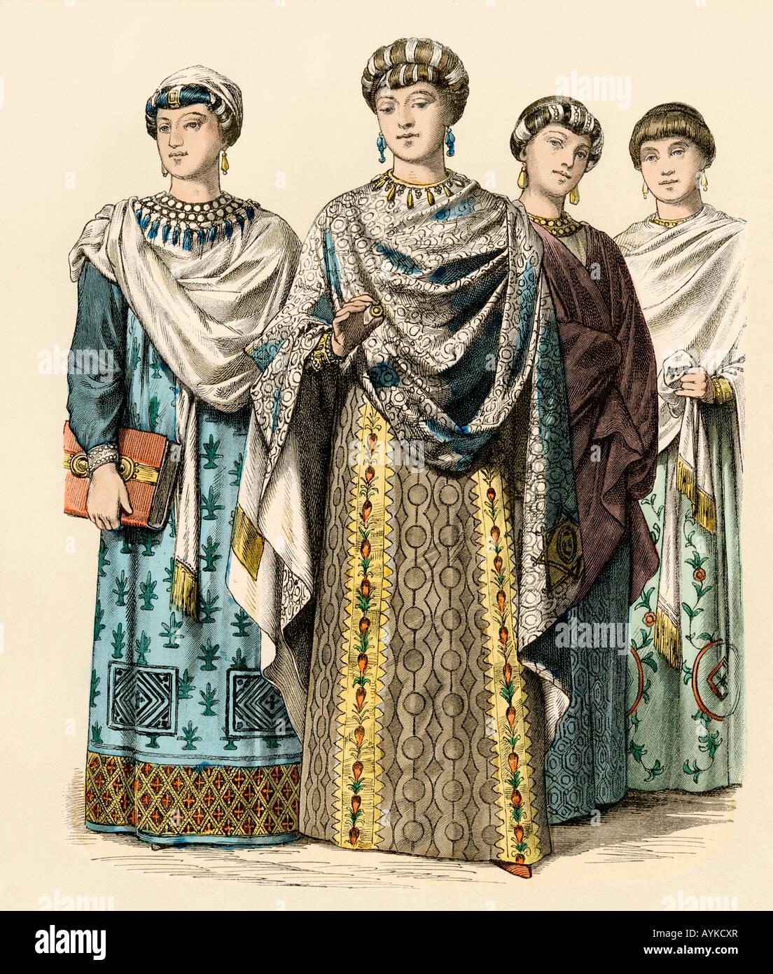 Mesdames en cour de l'impératrice Théodora, l'Empire romain 500 AD. Impression couleur à la main Banque D'Images