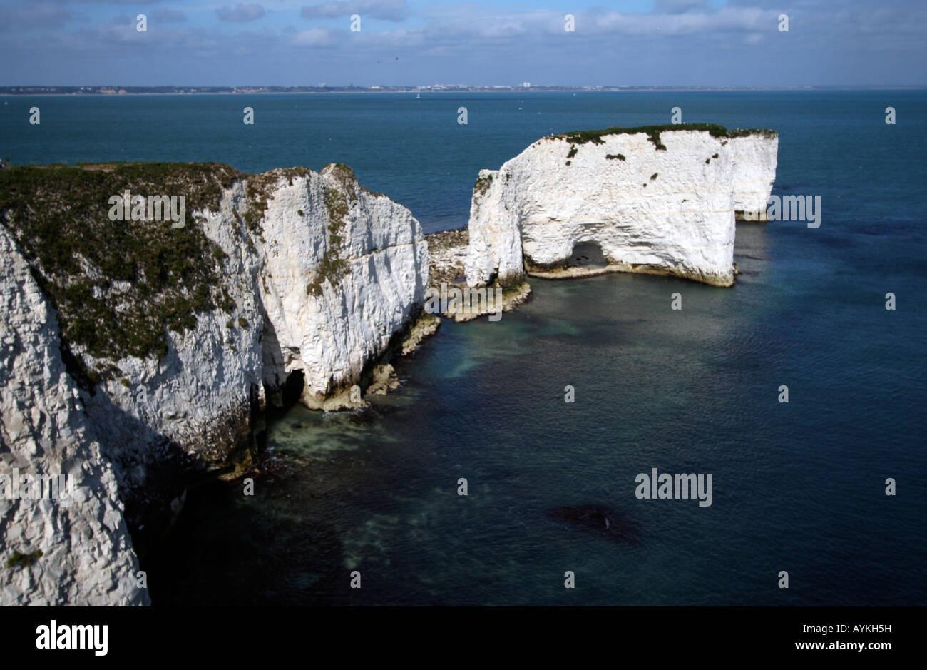 Clifs, vieille hary rock, Jurassic Coast Banque D'Images