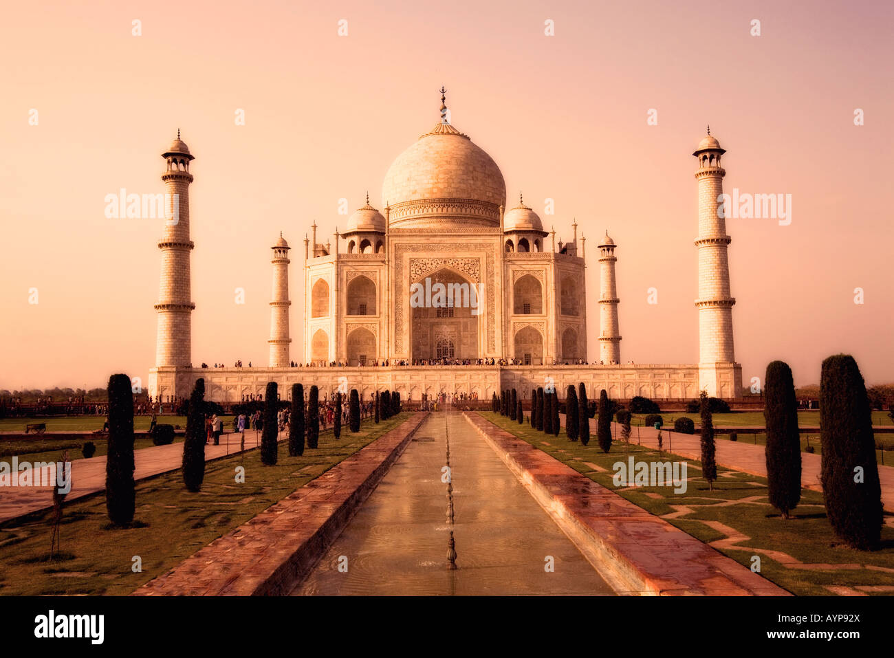 Taj Mahal, Agra, Inde en sépia Photo Stock