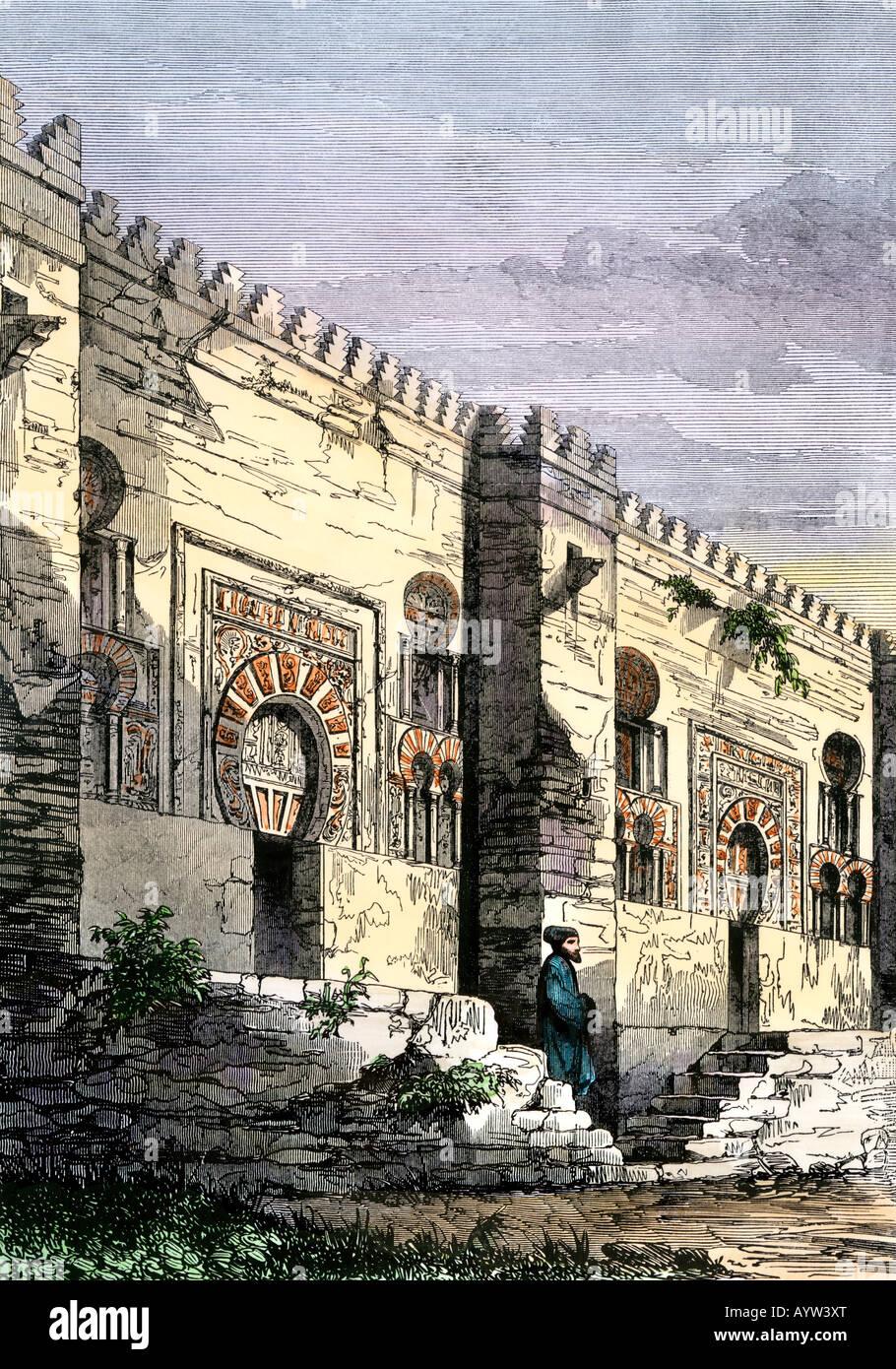 Mosquée de Cordoue Espagne fondée par Roi maure Abderahman J sur 692. À la main, gravure sur bois Photo Stock
