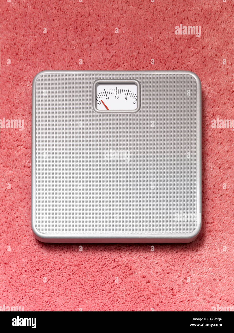Une salle de bains pourvue d''une balance sur un tapis moelleux rose Banque D'Images
