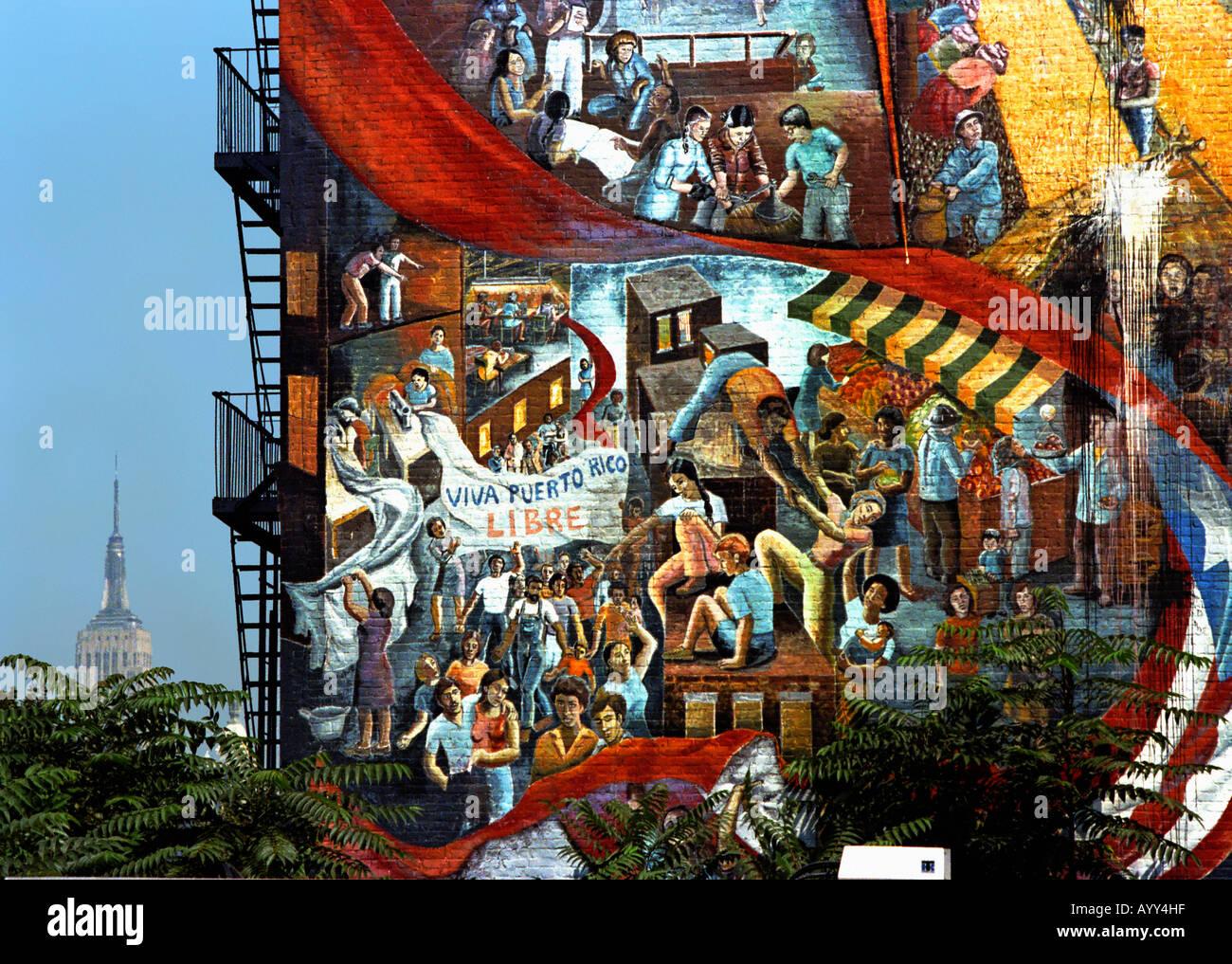 Peinture sur mur Manhattan USA Libre Porto Rico Photo Stock