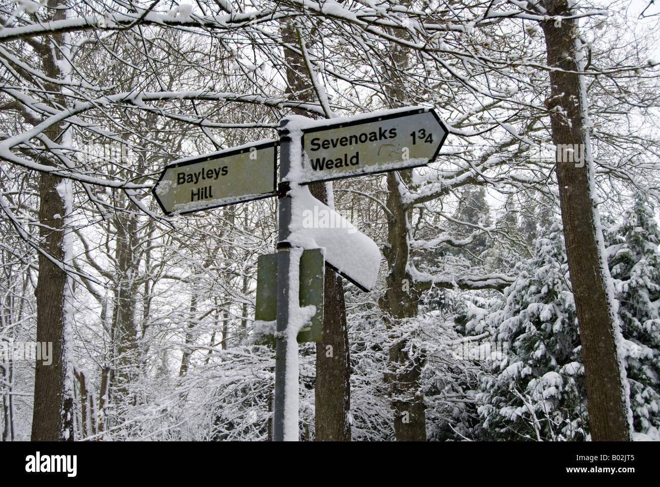Scène de neige dans le Kent, UK. Banque D'Images