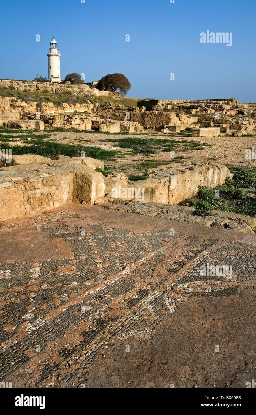 Phare de Paphos, Chypre et Amphitheatre. Photo Stock