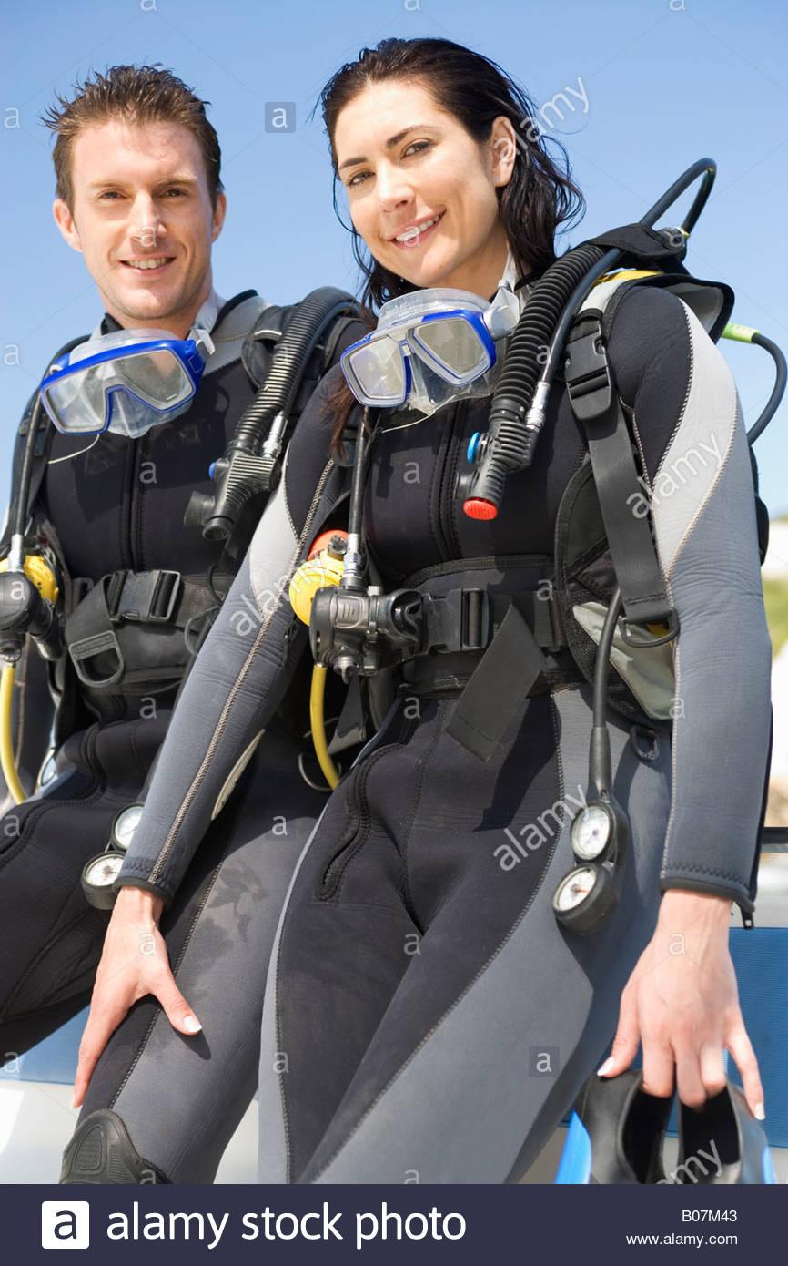 Un couple dans la plongée sous-marine, Photo Stock