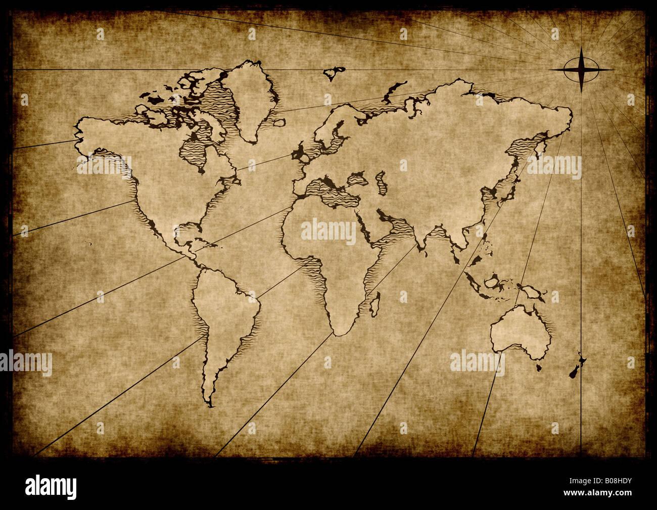 Carte Du Monde Parchemin un vieux monde carte dessinée sur le papier parchemin banque d