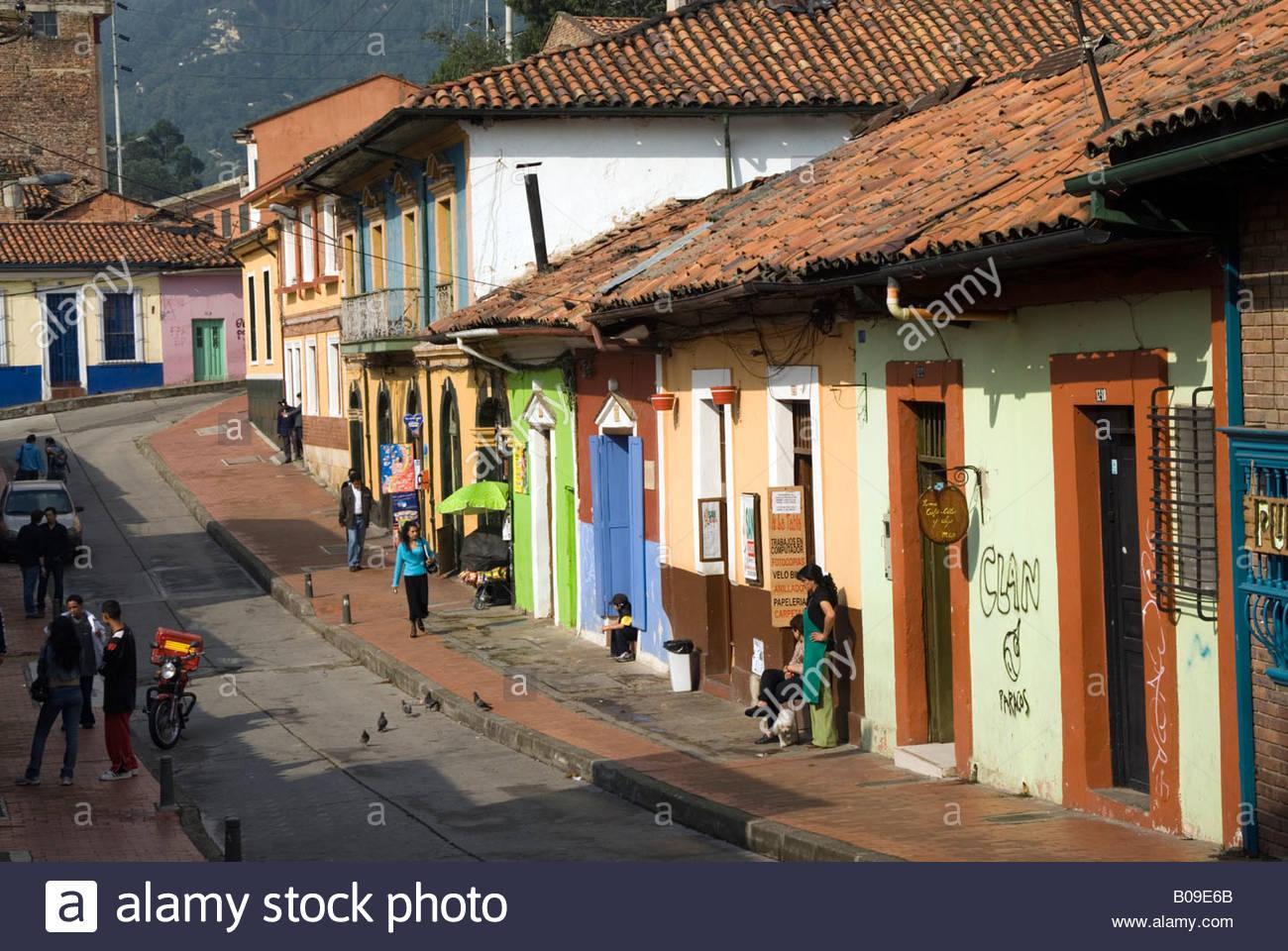 Dans la rue, La Candelaria Bogota, Colombie Photo Stock
