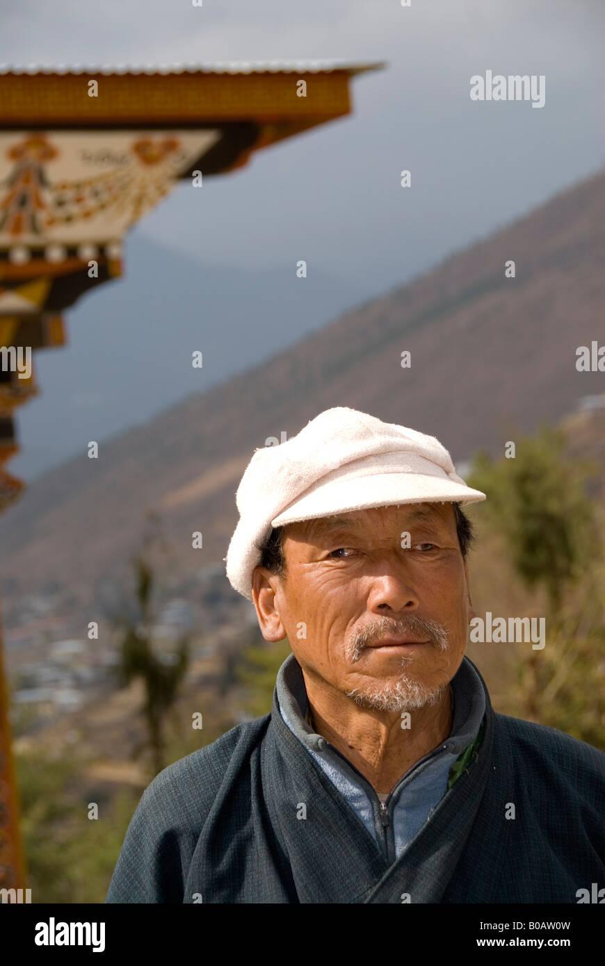 Construction bhoutanais contremaître pour rénovation de Trashi Chhoe Dzong, Thimphu, Bhoutan Photo Stock