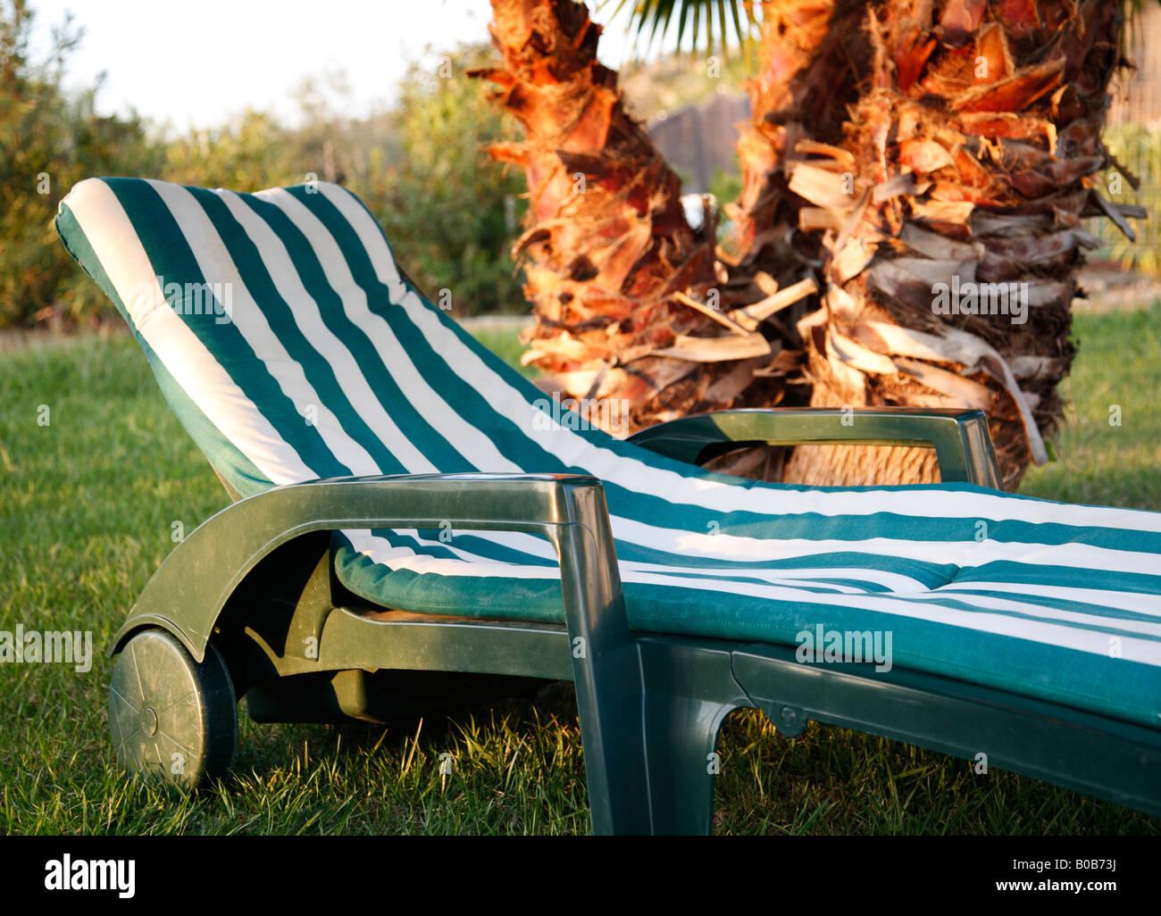 Longue Et Blanc Pelouse Dépouillé De Chaise Vert Sur La Avec Palmier N8wOPnk0X