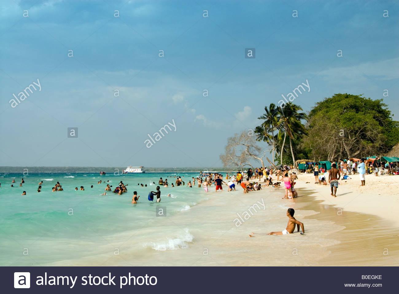 Playa Blanca, sur l'île de Baru, Cartagena de Indias, Colombie Photo Stock