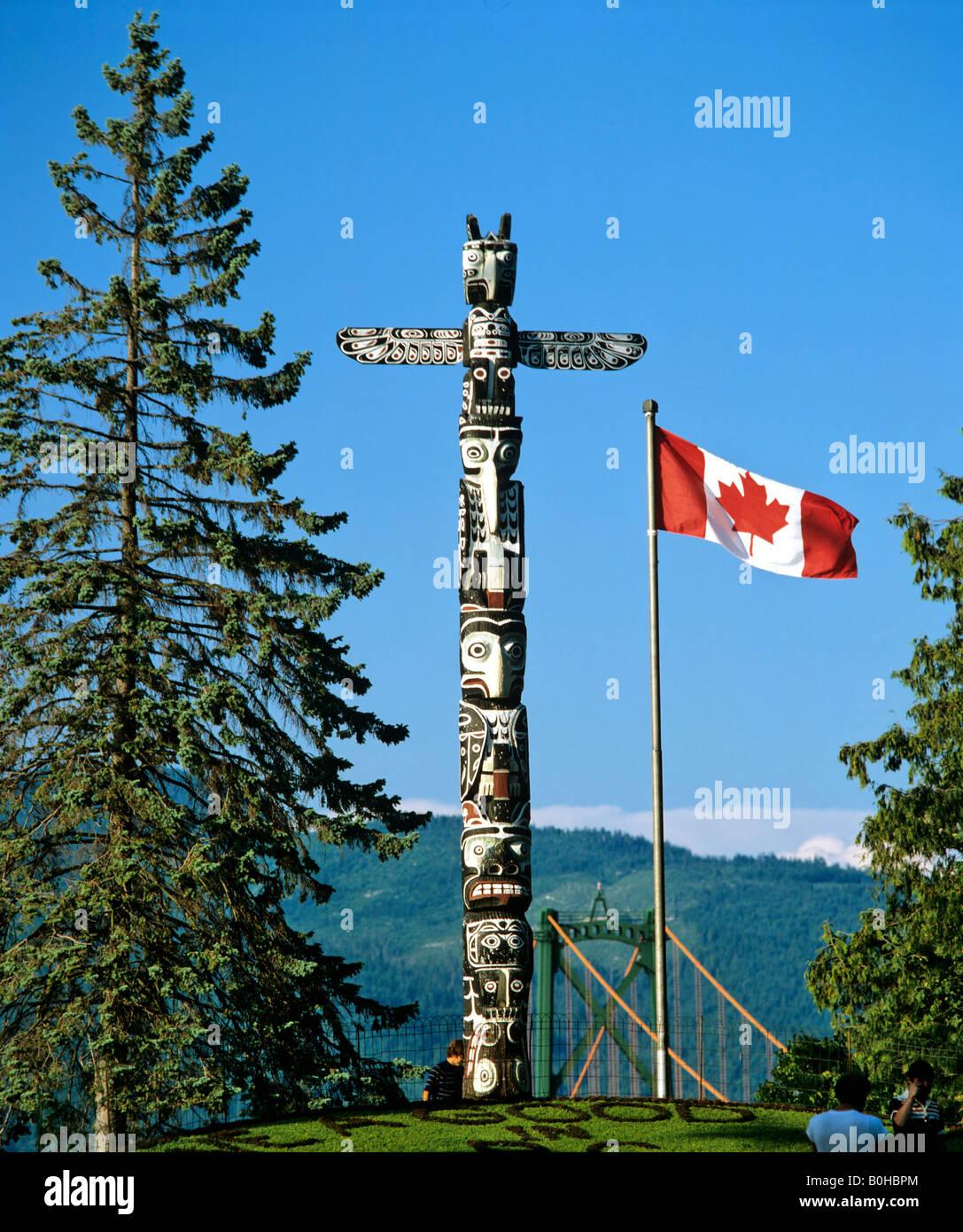 Totem à Stanley Park, Vancouver, British Columbia, Canada Photo Stock