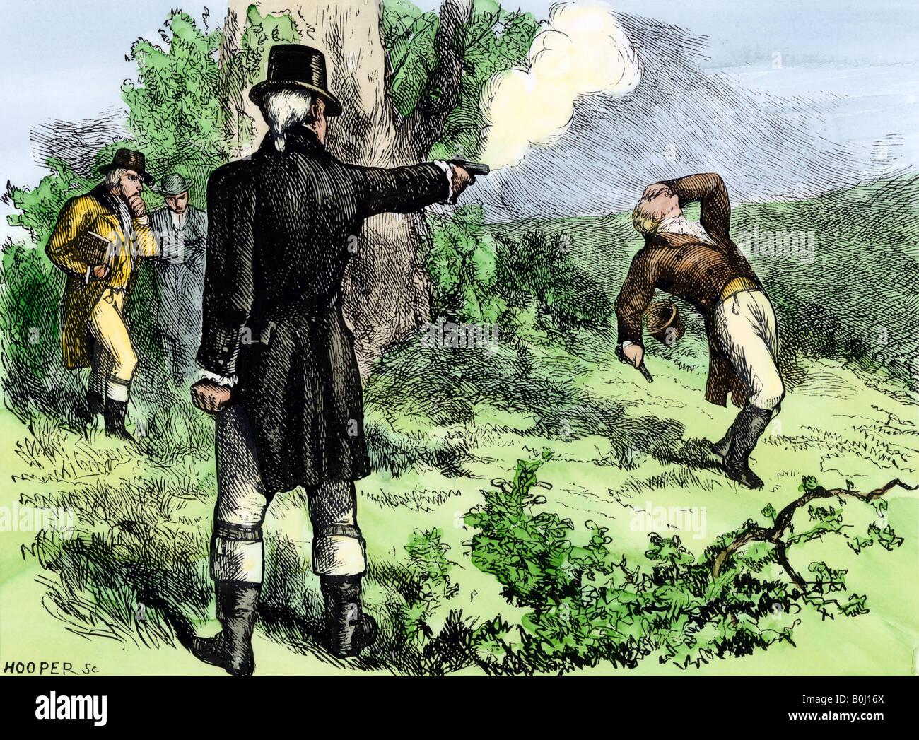 Alexander Hamilton tué dans un duel avec Aaron Burr 1804 Photo Stock
