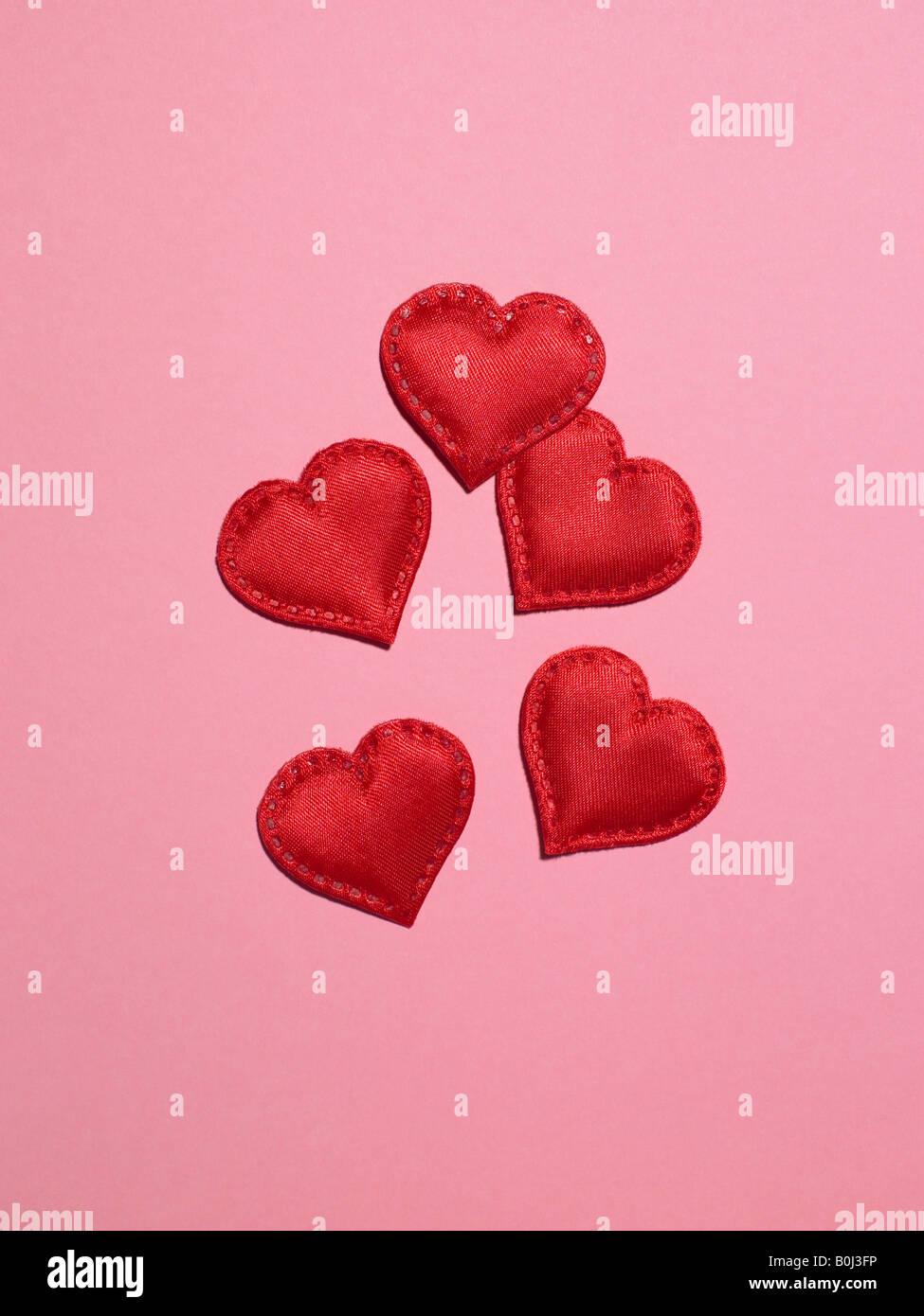 Coeurs sur fond rose Photo Stock