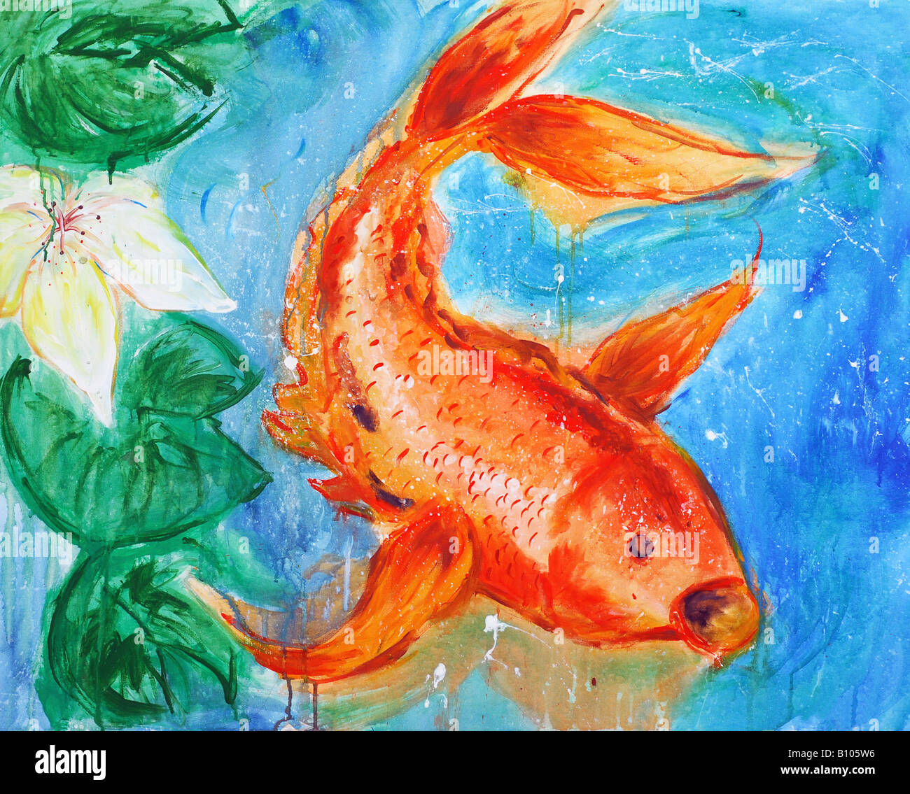 Peinture De Carpe Koi Poisson Photo Stock Alamy