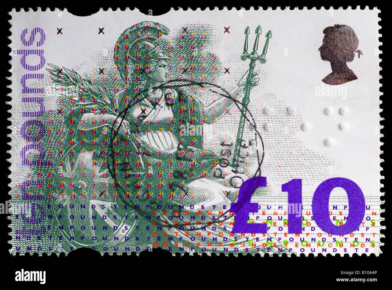 Utilisé 1993 Grande-bretagne £10 Britannia 'valeur' stamp - premier timbre britannique avec marquages en braille en relief. Banque D'Images