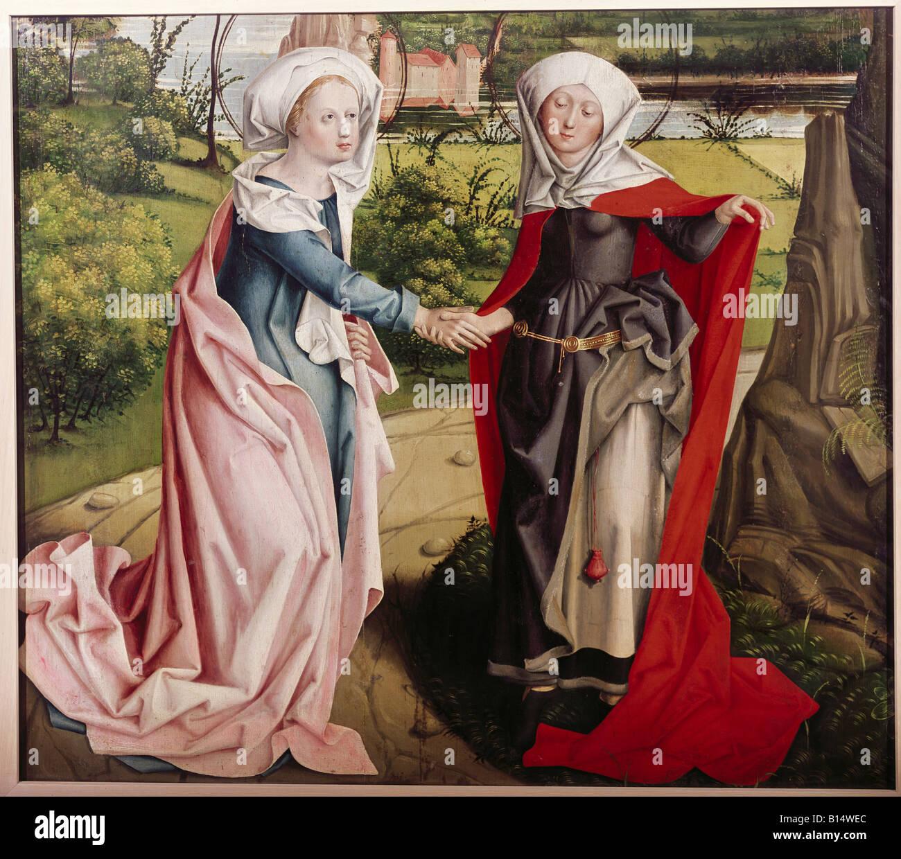 Beaux-arts, art religieux, peinture, Vierge Marie, de la visite d'Elizabeth, peinture, maître de la Visitation de Banque D'Images