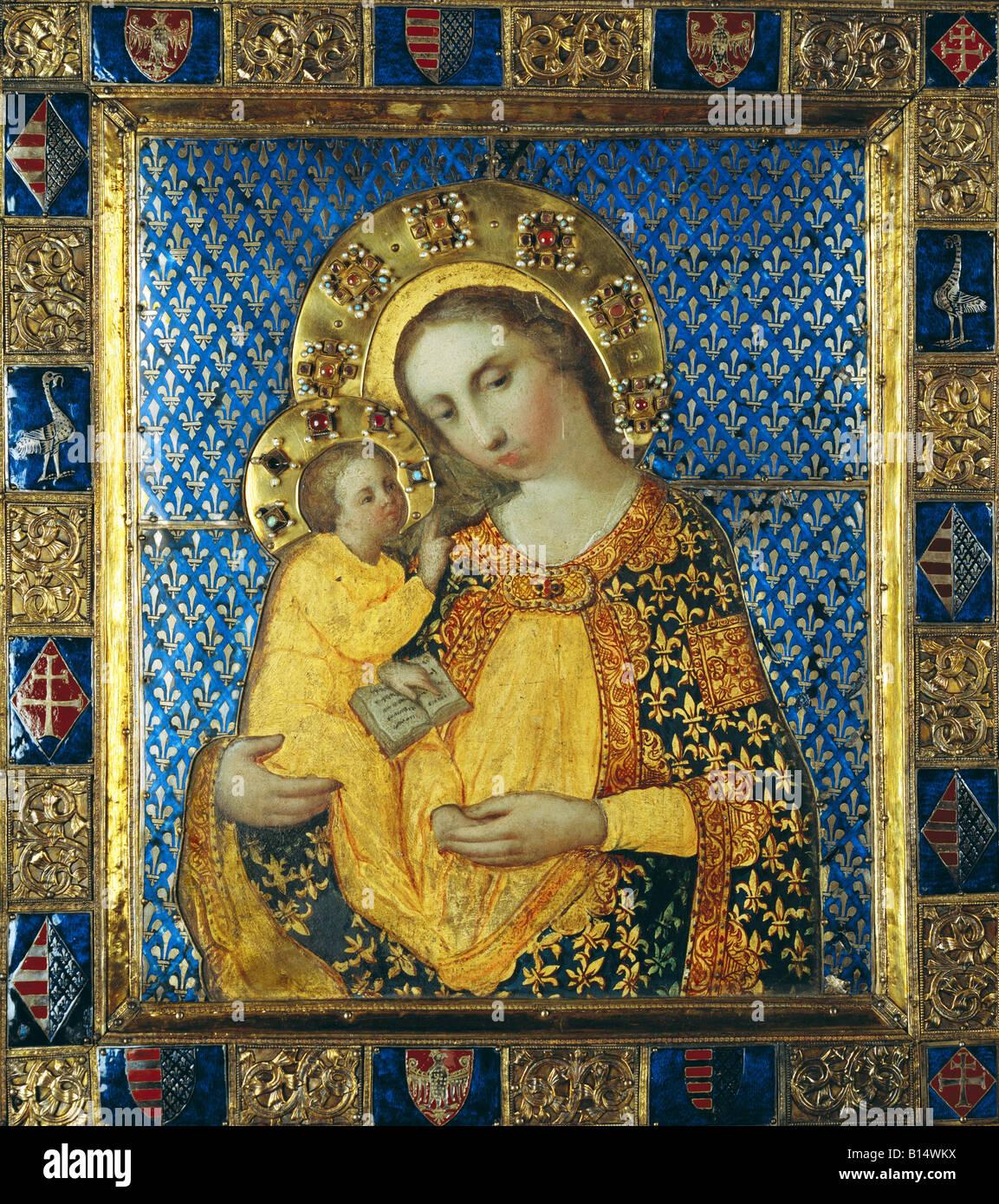 Beaux-arts, art religieux, Vierge Marie avec l'enfant, peinture, tempera sur bois, feuille d'argent gilted Photo Stock