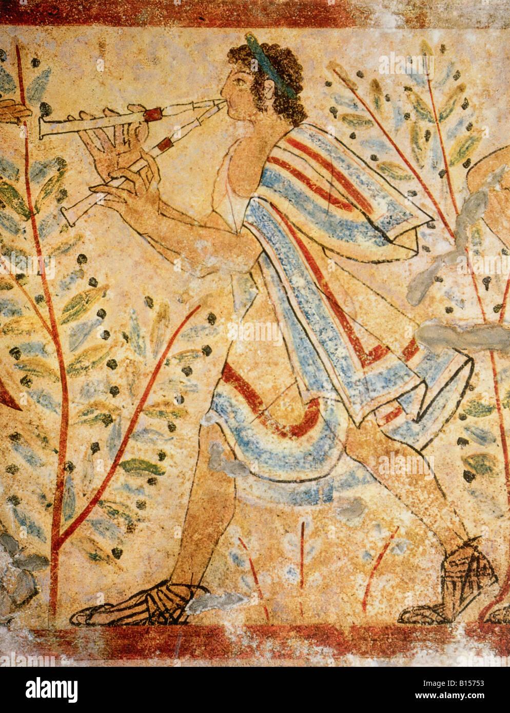 Beaux-arts, antiquité, Etrusques, peinture, l'homme évoluant dans la flûte, la Tomba dei Leopardi, Photo Stock