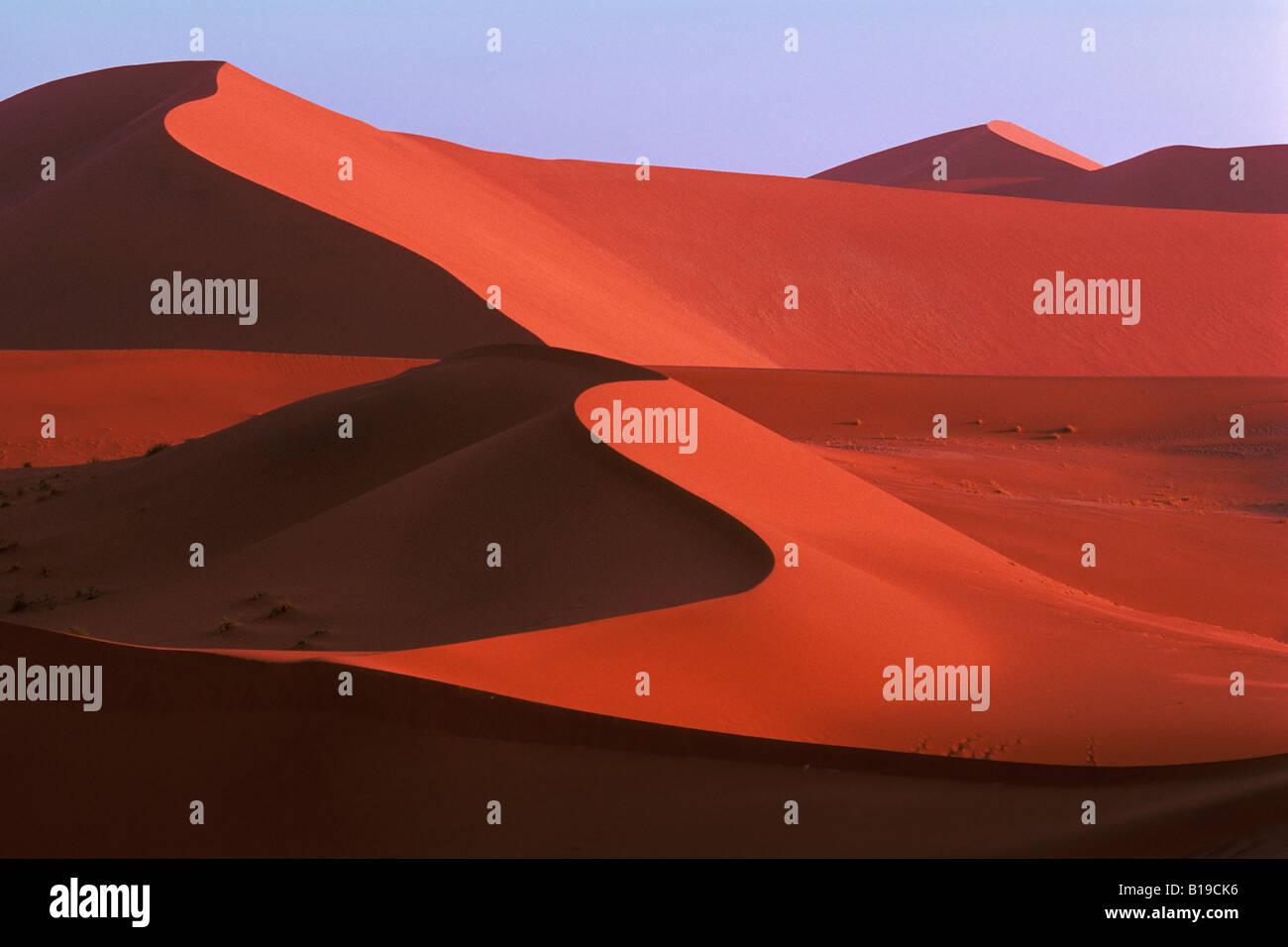 Formations de dunes de sable, du parc de Namib Naukluft, Sossusvlei, Désert du Namib, Namibie, Afrique Photo Stock