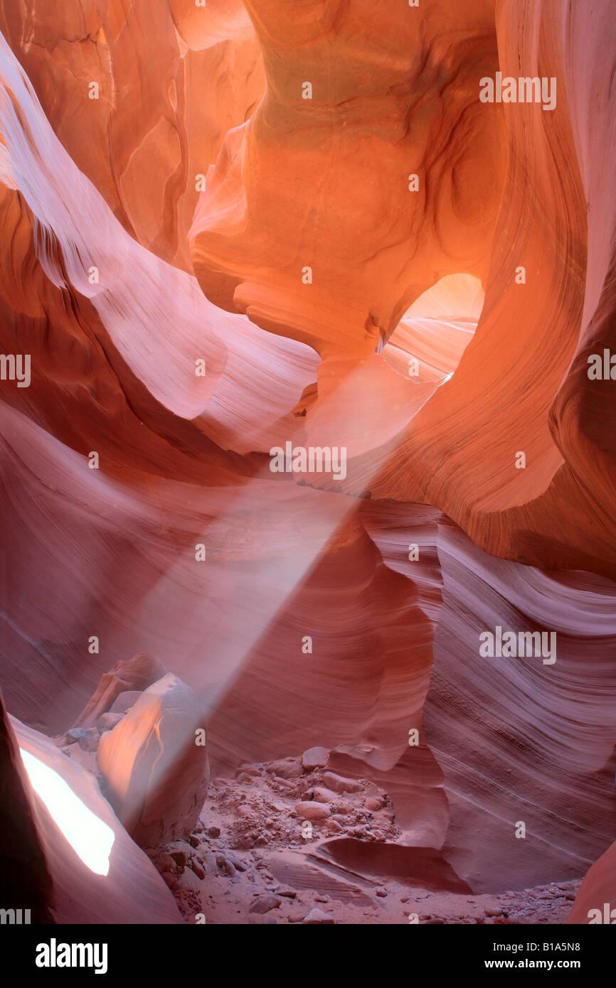 Faisceau de lumière dans Antelope Canyon, Arizona Photo Stock
