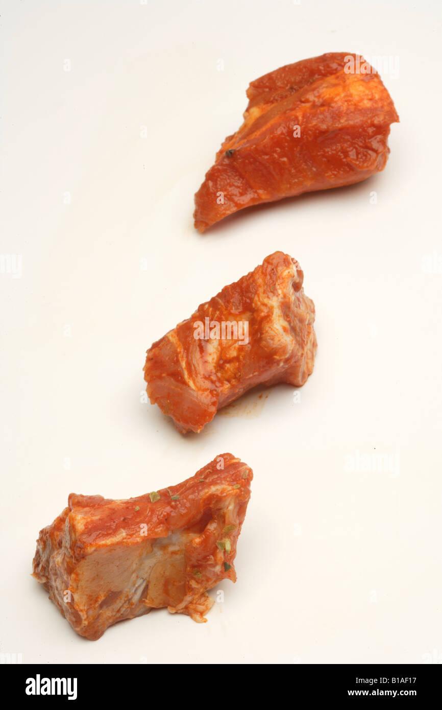 Côtes de porc frais (vertical) Banque D'Images
