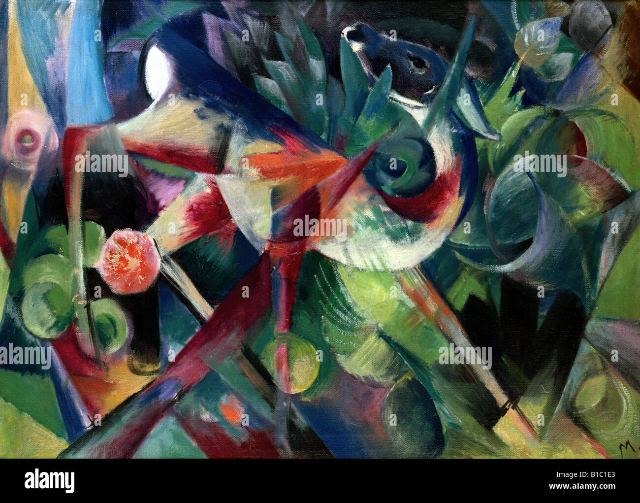 Beaux-arts, Marc, Franz, (1880 - 1916), peinture, 'Reh im Blumengarten', ('un chevreuil dans le jardin Photo Stock