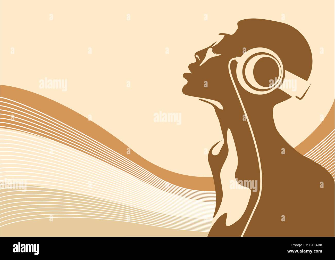 Abstract illustration d'une femme africaine à écouter de la musique Photo Stock