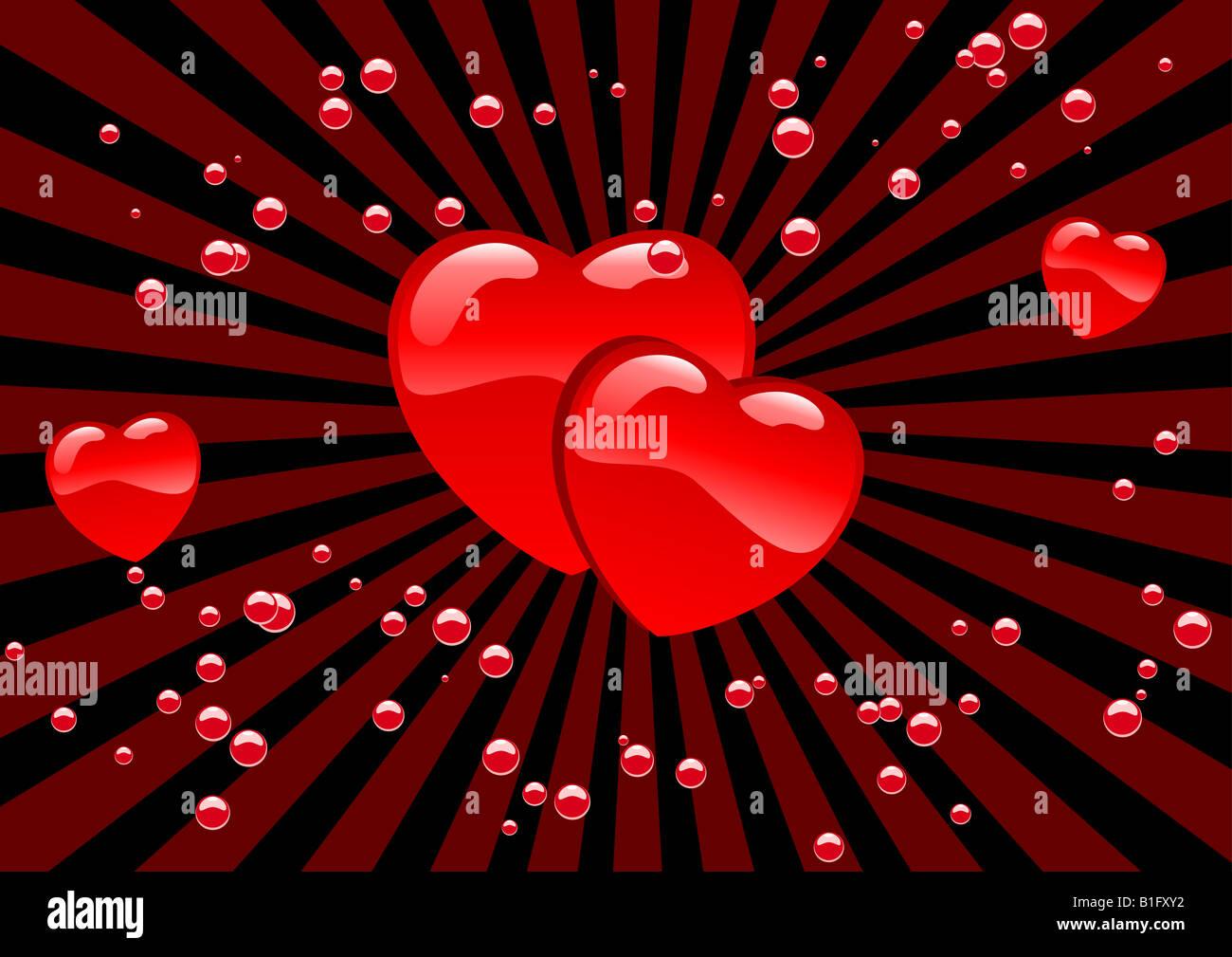 Abstract vector illustration de coeurs et bulles Photo Stock
