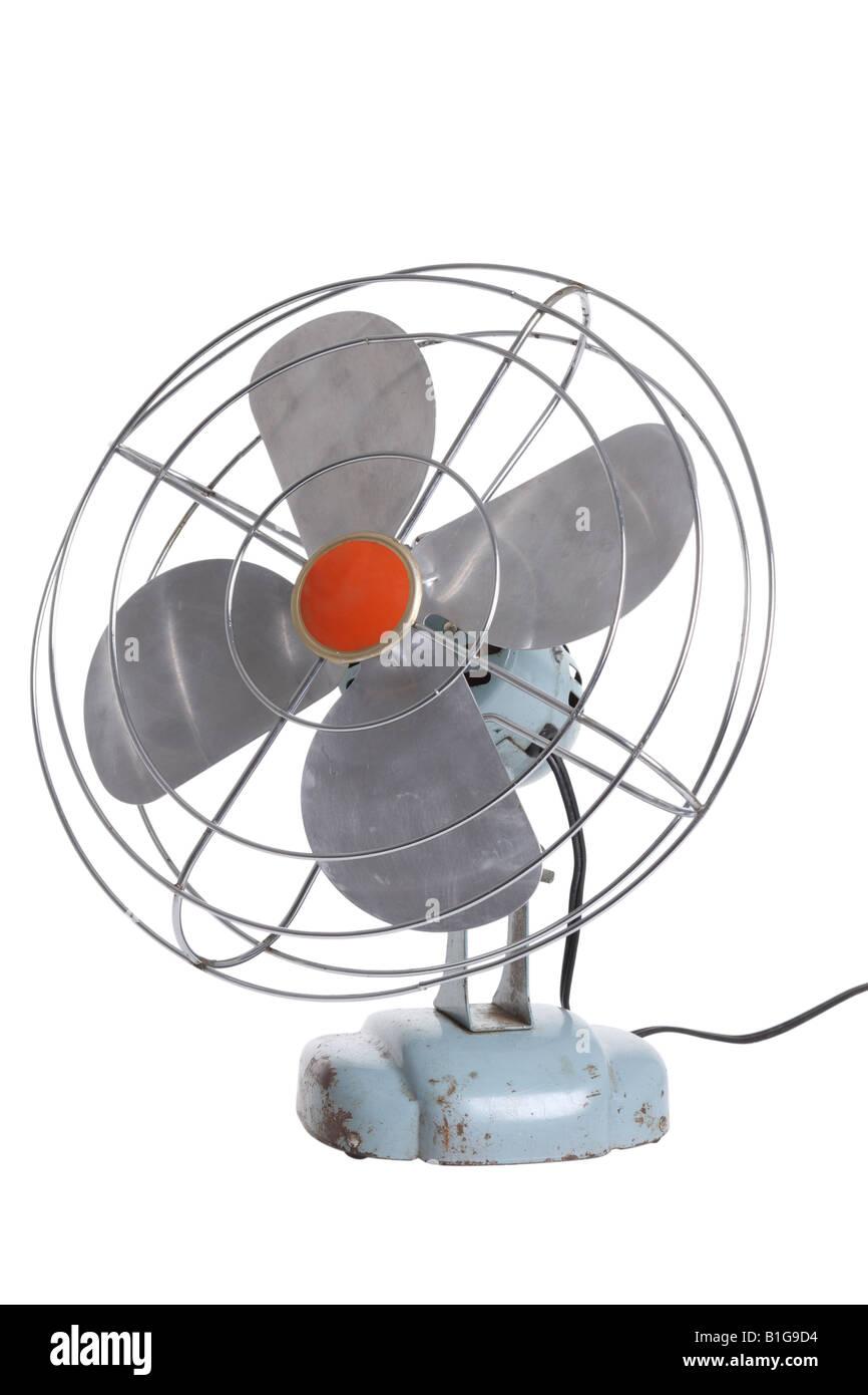 Ventilateur électrique rétro découper sur fond blanc Banque D'Images