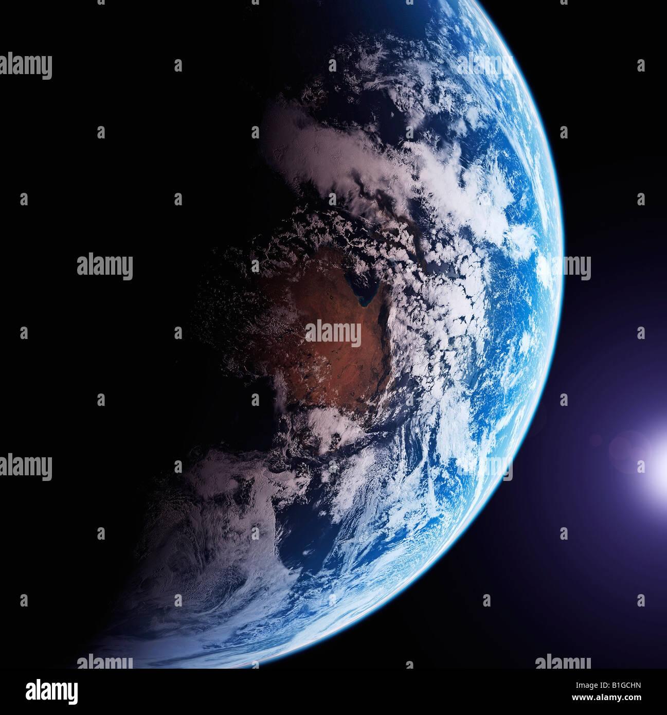 Image satellite de la Terre depuis l'espace Photo Stock
