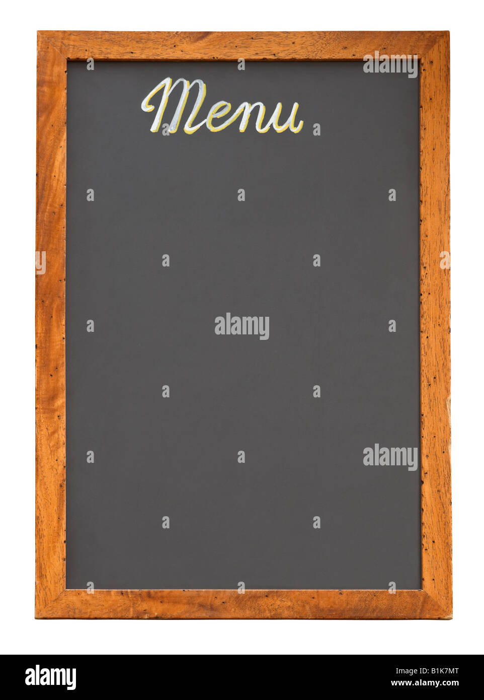 Menu restaurant vide tableau isolé sur fond blanc Photo Stock