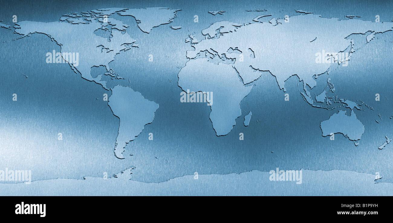 Plan de monde Weltkarte Banque D'Images