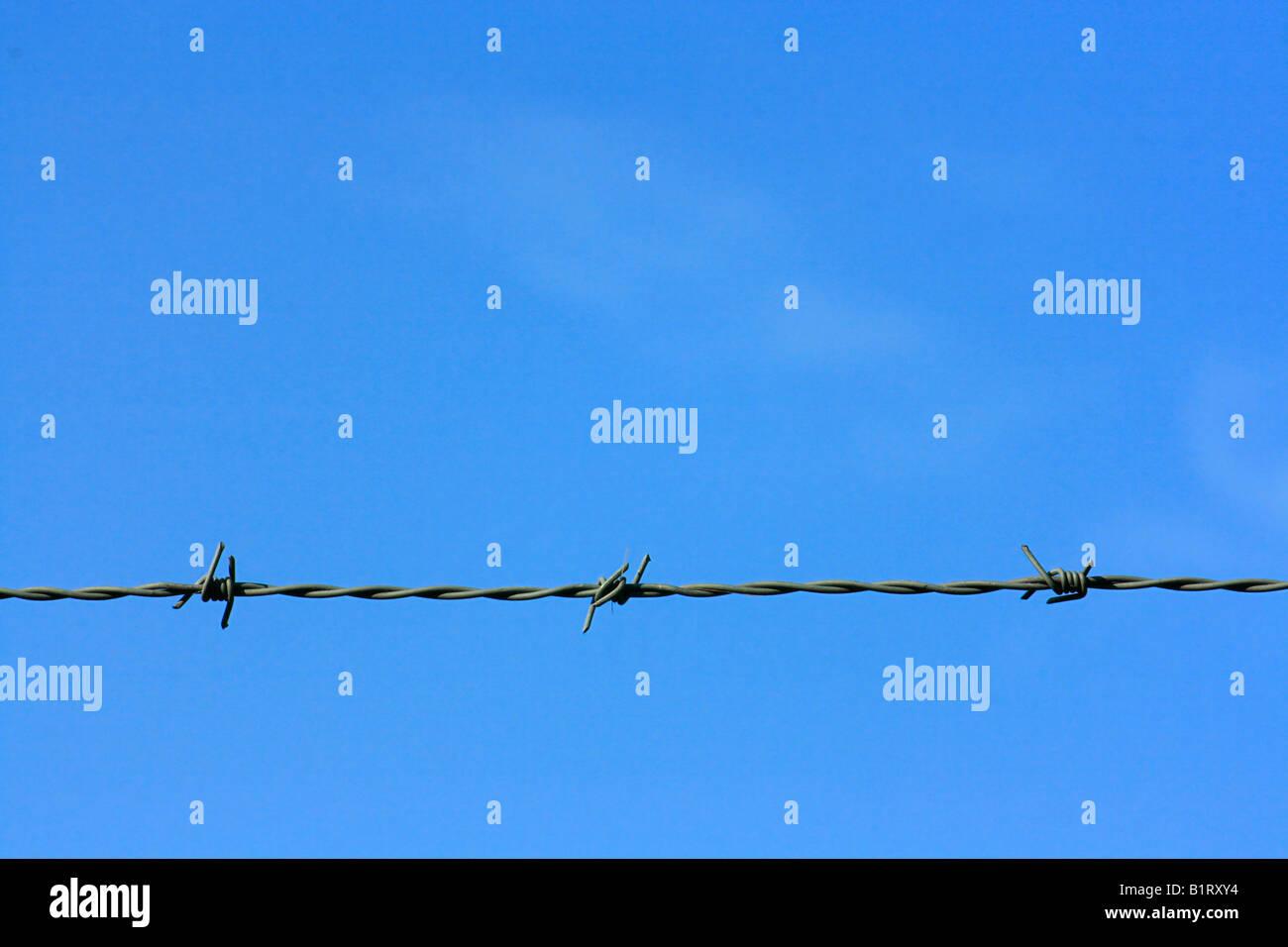 Bleu ciel et les barbelés, barbedwire Photo Stock