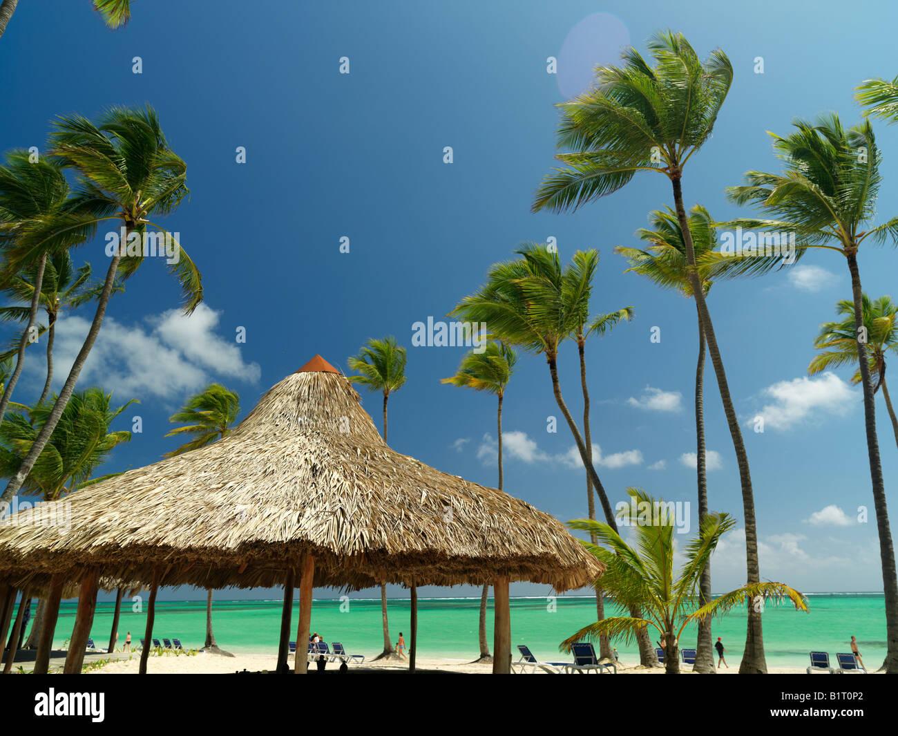 République dominicaine Punta Cana Bavaro Beach palmiers et palapa sur plage de sable blanc face à la mer Photo Stock