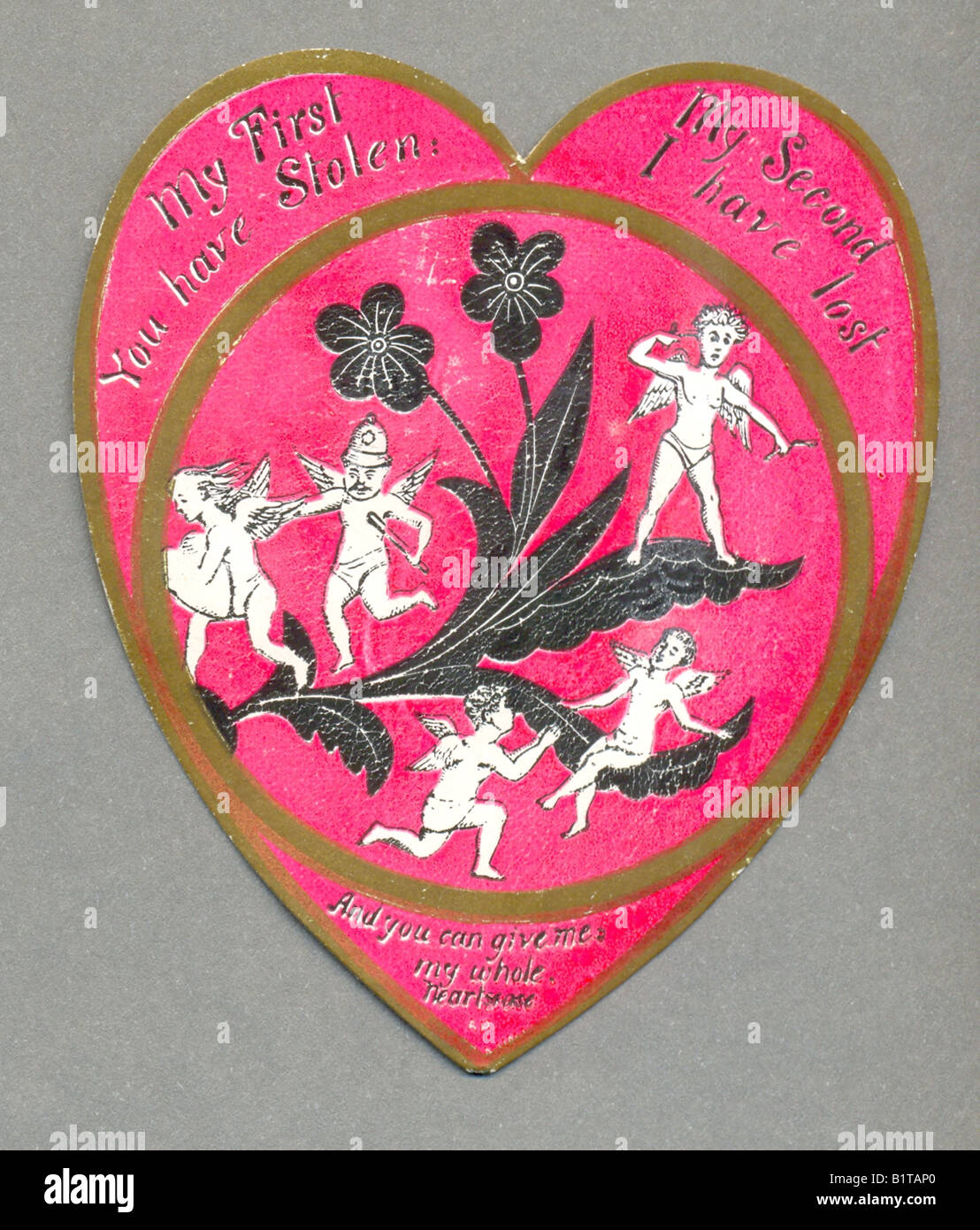 Carte de saint valentin puzzle victorien circa 1880 Photo Stock