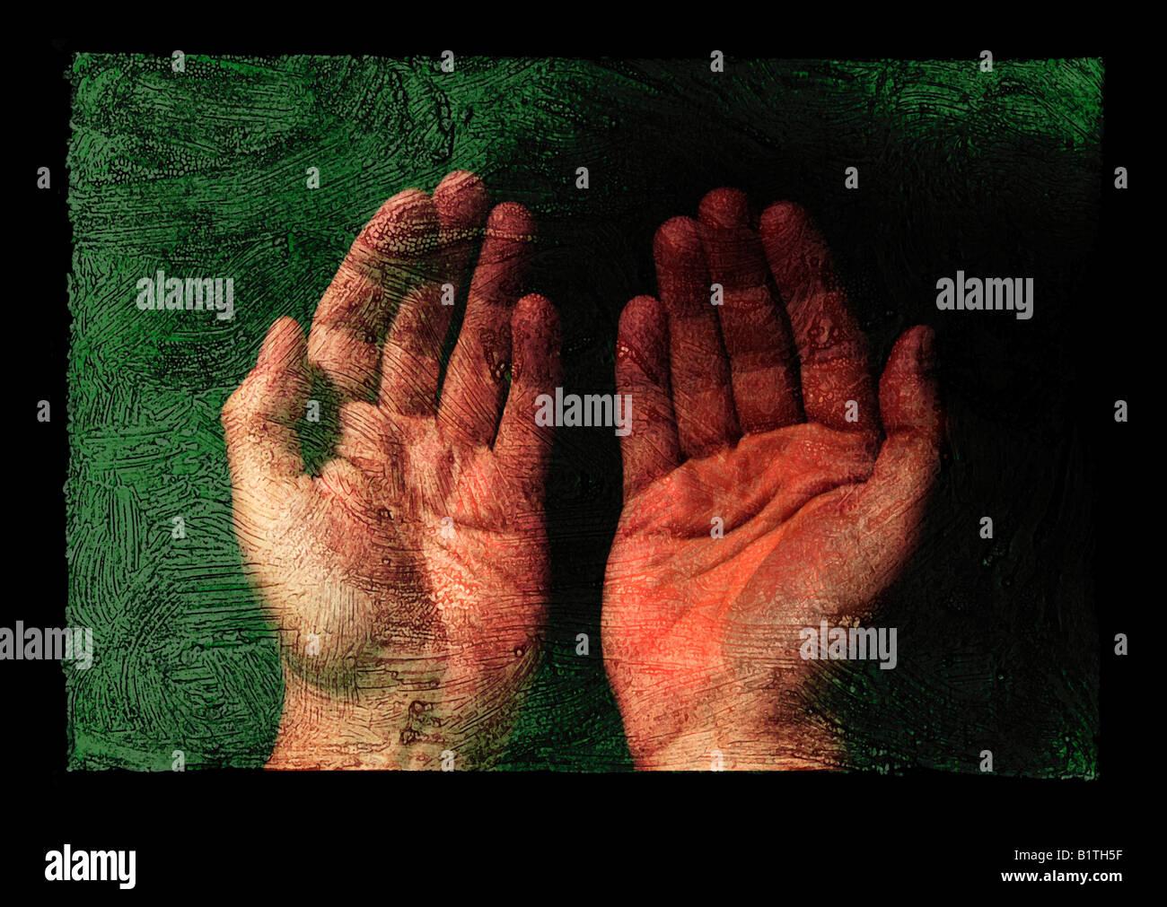 Mains sur la fresque Photo Stock