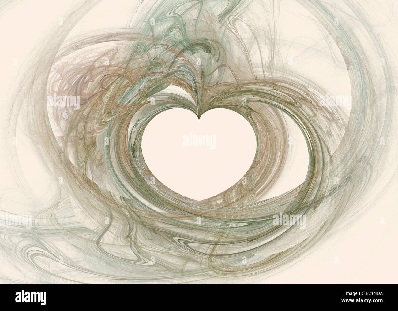 Résumé de l'image fractale avec Motif coeur rendus dans des tons chaleureux. Photo Stock